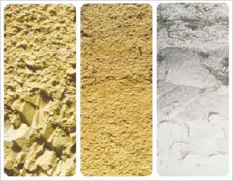 南アフリカの主な土壌:左から頁岩、花崗岩、砂岩